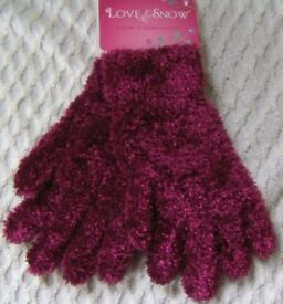 Ladies Luxury Feather Gloves Red