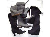 Job lot 1 Bronx leather boot over Knee High flat Platform wedge shoes black grey size 4
