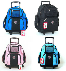 18-Wheeled-Backpack-Roomy-Rolling-Book-Bag-Drop-Handle-Carry-on-Luggage-Travel