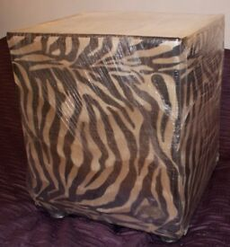 NEW BEDSIDE TABLE - SEXY, FUNKY, PLUSH FLEECE, with CUBE DESIGN - ANIMAL PRINT FABRIC - GLASS TOP