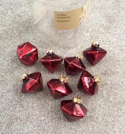 John Lewis (8) glass ruby baubles