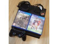 Sony PS4 Playstation 4 500GB with Fifa 16 and Call of duty advanced warfare + all wires No Offers
