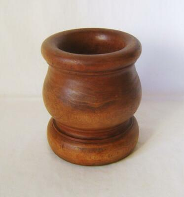 Tall Vintage Turned Hardwood  Bowl:  Mortar? 15 cm high Teak or Similar Wood