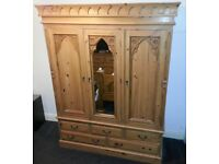 Full Solid Oak Bedroom Furniture Set - Wardrobe, Chest of Drawers, Bedside Cabinet and Mirror