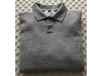 Men's Topman Long Sleeve Polo Top Grey Small