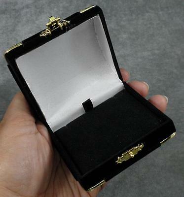 Black Gold Flocked Velvet White Satin Hinged Necklace Pendant Earring Gift - Gold Gift Box