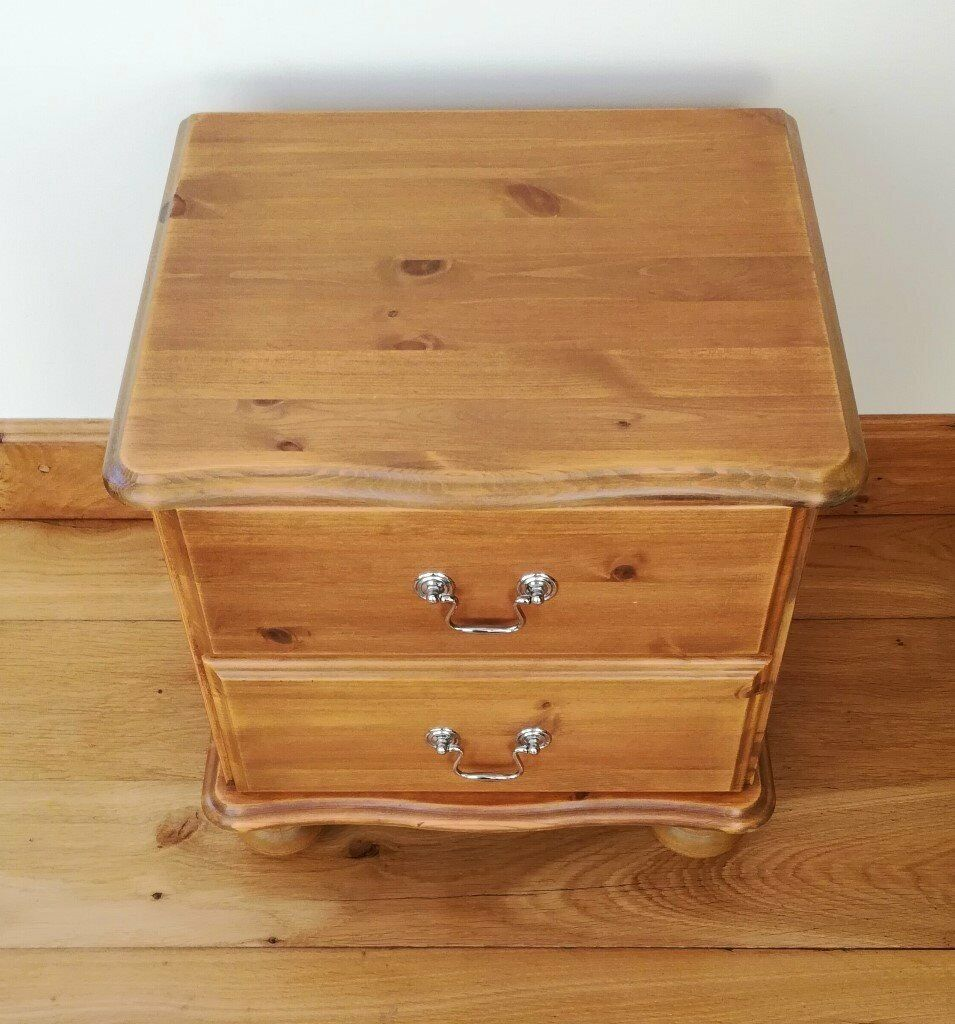 Chest Of Draws Unit Pine Wood Furniture 2 Drawer Chrome Handles Contemporary Curve Shape Design