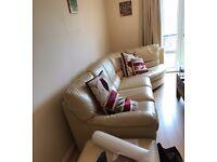 Venetian Italian Cream Leather Sofa/ John Lewis Bookcase, desk and chair