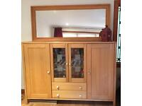 Cabinet, table and mirror