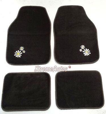 Universal Non slip Full Carpet Daisy Flower Car Mats 4 PCE For All Models