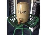 Large Pottery Stoneware, English Wine (Moira) Croc Flagon, Unused, ex condition, original wood tap