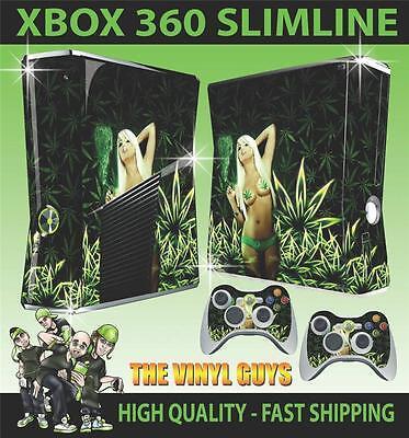 XBOX 360 SLIM STICKER SEXY CANNABIS GIRL WEED BIKINI BABE SKIN & 2 PAD SKINS
