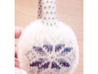 Cream and Grey Fair Isle Design Faux Fur and Knit Ear Muffs Protectors.