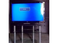 "Bush 39"" Full HD LCD TV and three glass shelf stand."