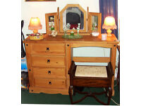 Solid Pine Single Pedestal Dressing Table and vintage Piano Stool
