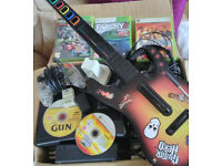 XBox 360 + 52 Games + Guitar + Headset + charger + 3 spare battery's