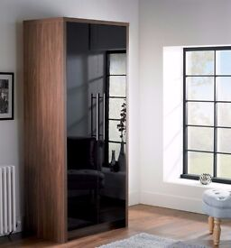 Brand New Camden 183cm Gloss Wardrobe Walnut Black