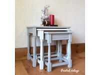 Nest of tables, coffee tables, side tables, end tables, display tables, hand painted, shabby chic