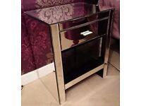 2x Romano Mirrored Bedside Table & Shelf