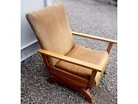 Lovely Retro Danish Beech Rocking Chair with Golden brown Fabric