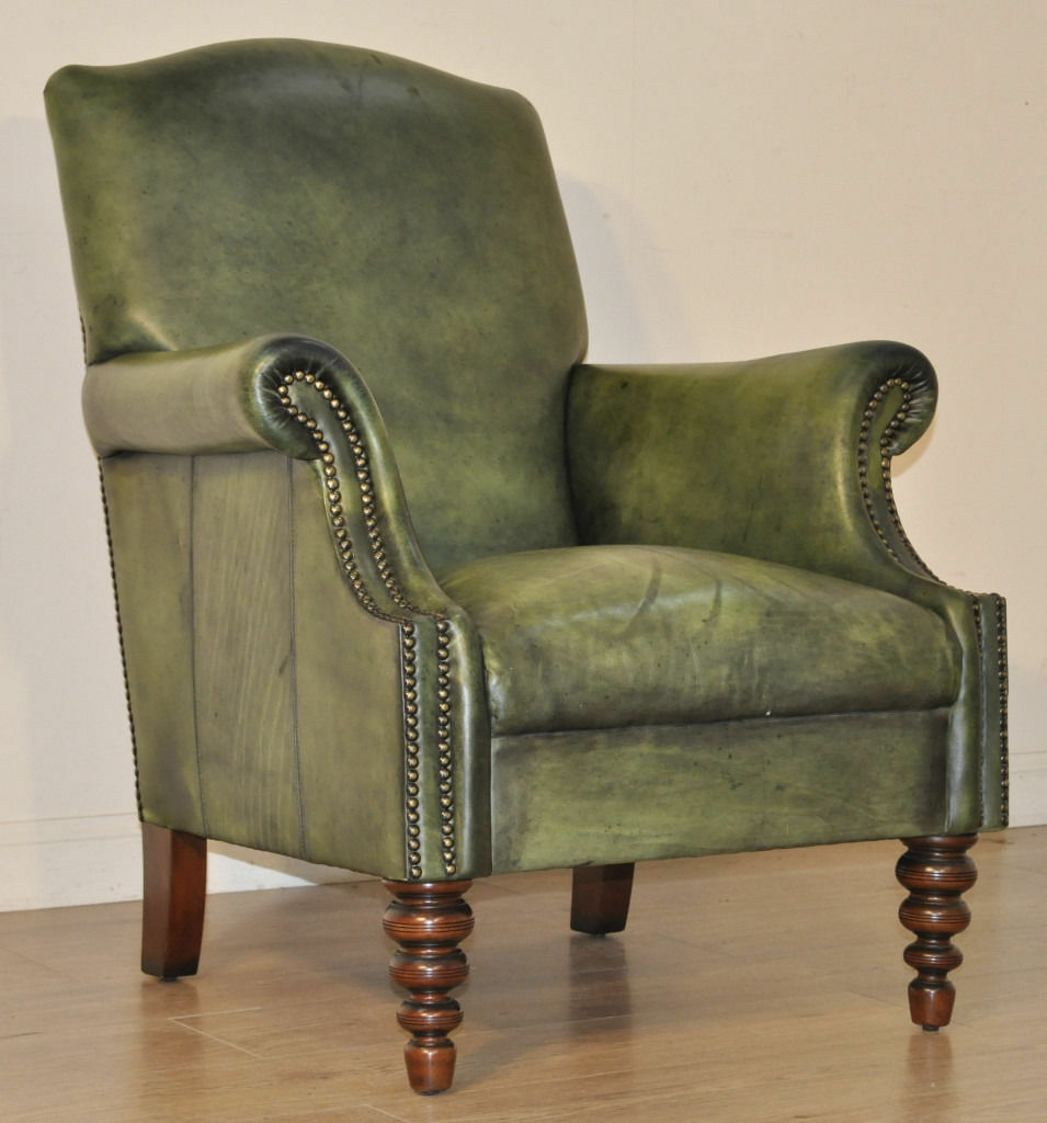 John Lewis Tetrad Green Leather Chesterfield Style Scroll ...