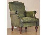 John Lewis Tetrad Green Leather Chesterfield Style Scroll Arm Armchair Chair