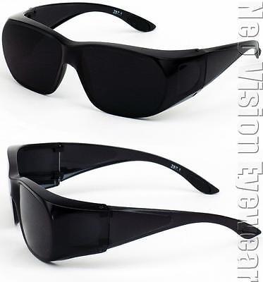 Medium Will Fit Over Most Rx Glasses Sunglasses Safety Black Super Dark Lens 265
