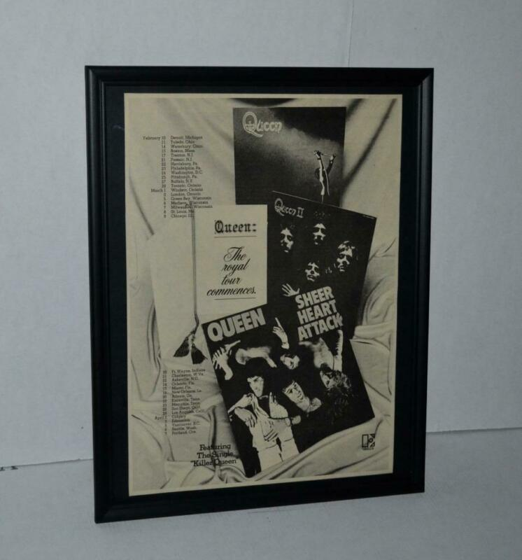 QUEEN 1975 THE ROYAL TOUR COMMENCES EARLY CONCERT DATES PROMO FRAMED POSTER / AD