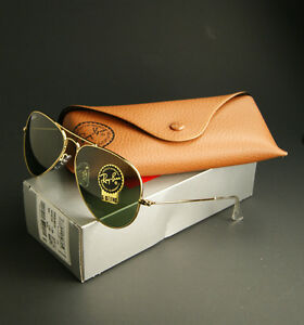 NEW-RAY-BAN-AVIATOR-SUNGLASSES-GOLD-FRAME-w-CRYSTAL-GREEN-LENS-RB3025-W3234-55MM