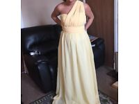 Four multiway pale yellow bridesmaid dresses