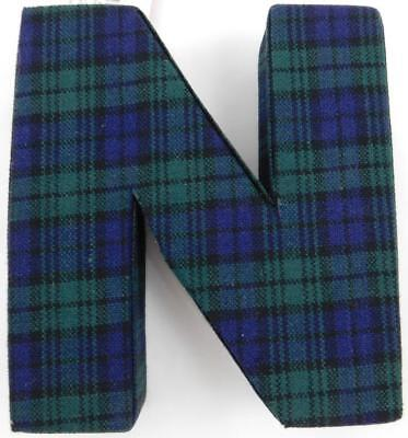 Mad For Plaid Monogram Letter N New Blue Green Trend Stop  - Letter N Halloween