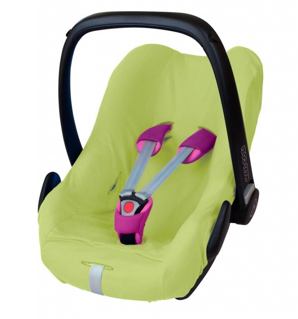 ByBoom® Universal Baumwoll Sommerbezug, Schonbezug für Babyschale z.B. Maxi Cosi Limette