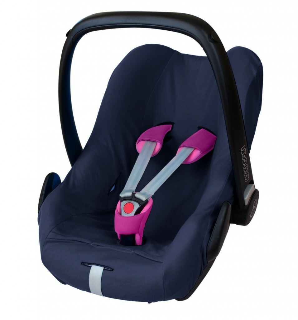 ByBoom® Universal Baumwoll Sommerbezug, Schonbezug für Babyschale z.B. Maxi Cosi Dunkelblau