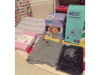 Pregnancy/maternity bundle.pillow bump wedge support/breast feeding lansinoh pads/pants/nursing vest