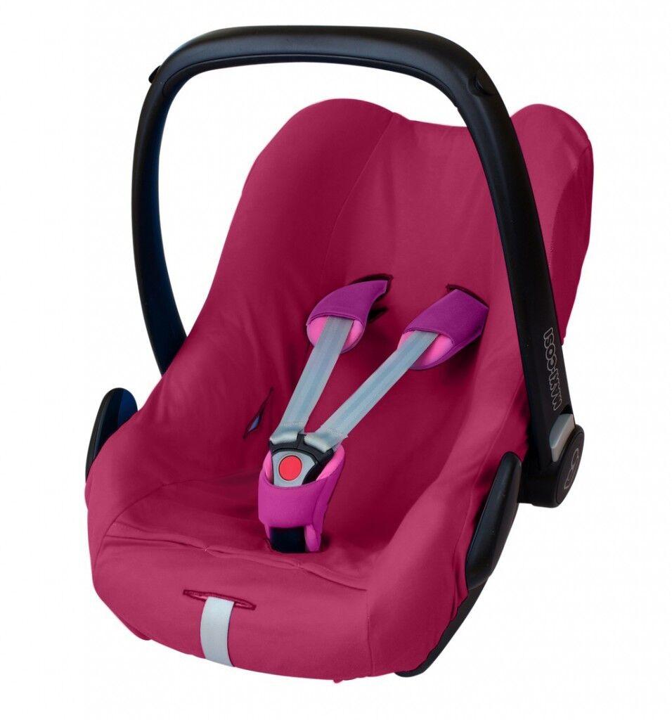 ByBoom® Universal Baumwoll Sommerbezug, Schonbezug für Babyschale z.B. Maxi Cosi Fuchsia