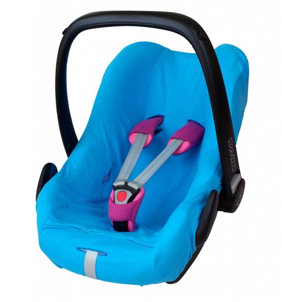 ByBoom® Universal Baumwoll Sommerbezug, Schonbezug für Babyschale z.B. Maxi Cosi Blau
