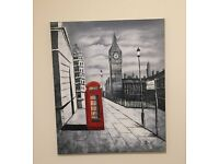 Oil Painted Canvas. Big Ben with red phonebox. Hand painted.