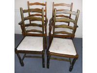 Set of Four Dining Chairs including Two Carvers to Re Upholster