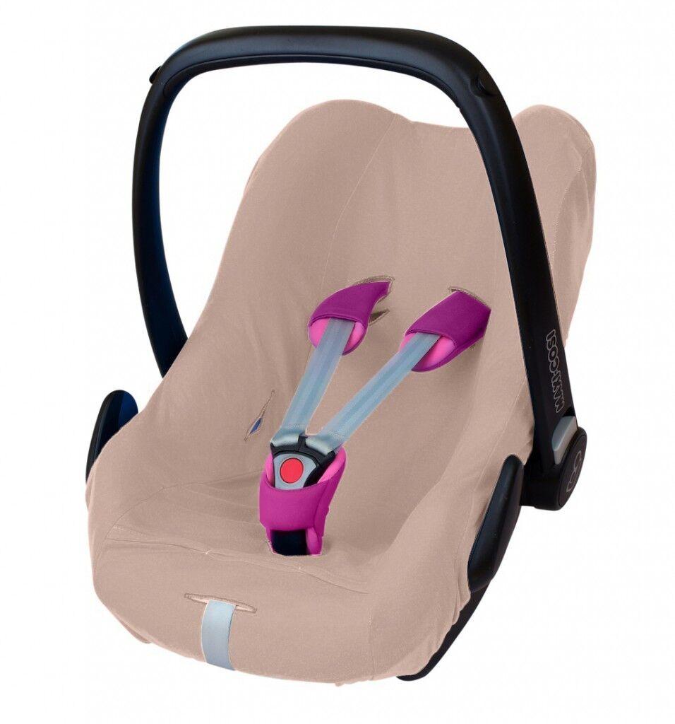 ByBoom® Universal Baumwoll Sommerbezug, Schonbezug für Babyschale z.B. Maxi Cosi Beige