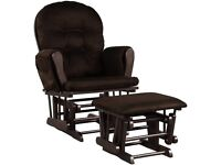Wooden Glider Reclining Chair Padded Cushions with Footstool HW66394