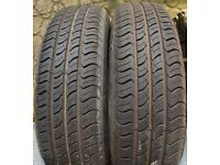 'Two 165 / 70 R13 Nearly New Tyres on Citroen Saxo Wheels