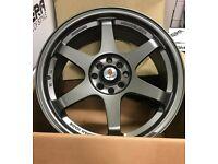 "Mini Vauxhall Fiat Honda x4 17"" Stuttgart St16-N Alloy Wheels Matt GM 4x100"