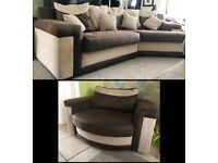 Large Corner Sofa with a Huge Snuggle Swivel chair BARGAIN AT £300!! GREAT CONDITION