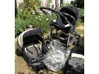 Silver cross travel system , stage one car seat, pram, rain cover,