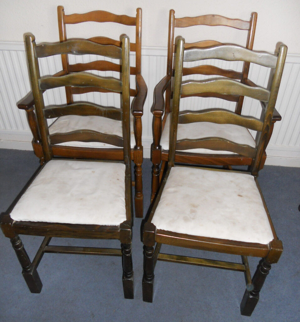 Set of Four Dining Chairs, Carvers, to Re Upholster