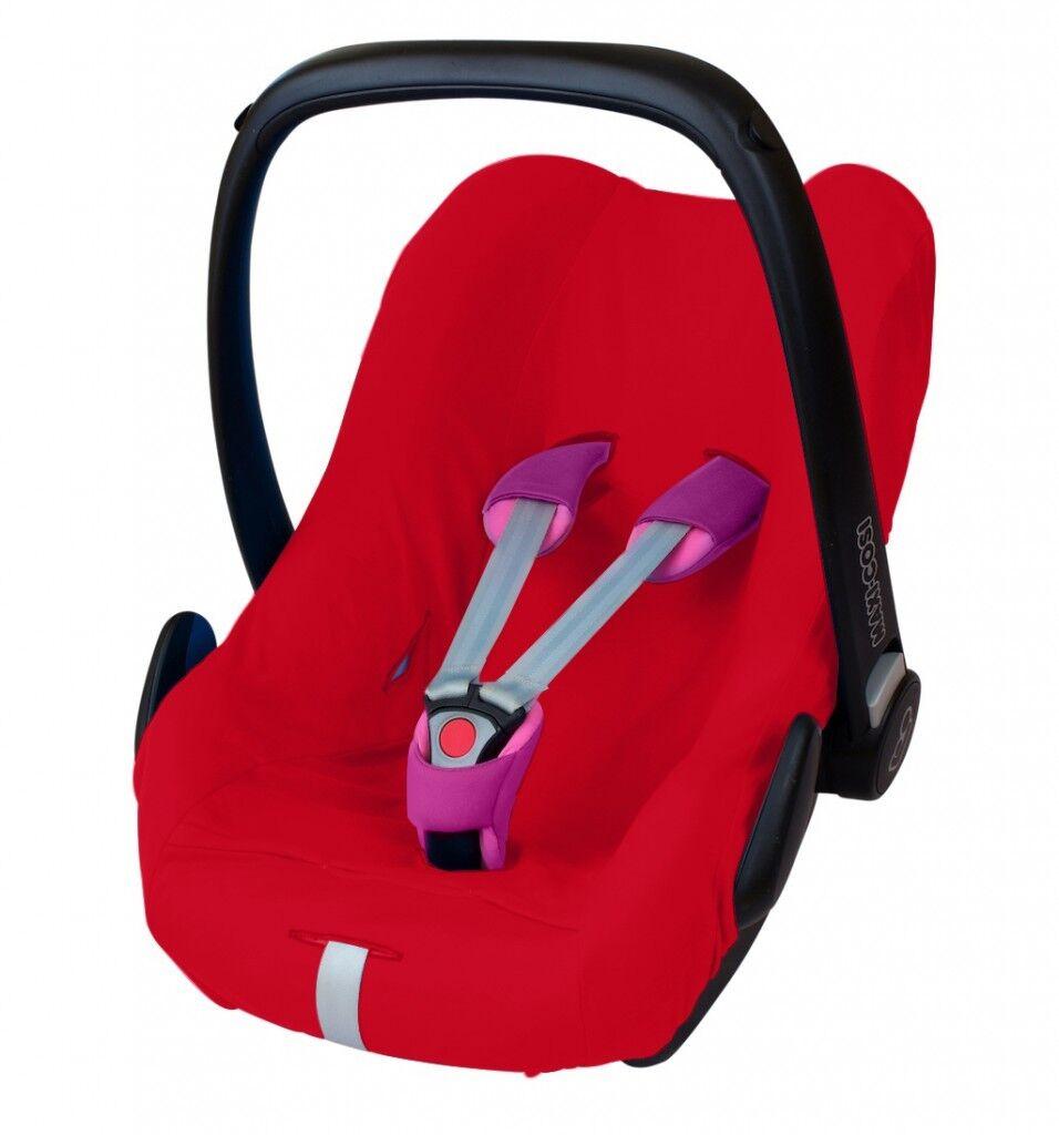 ByBoom® Universal Baumwoll Sommerbezug, Schonbezug für Babyschale z.B. Maxi Cosi Rot