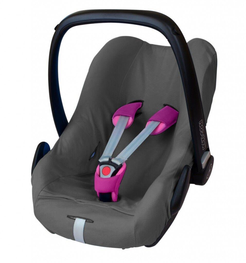 ByBoom® Universal Baumwoll Sommerbezug, Schonbezug für Babyschale z.B. Maxi Cosi Grau