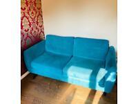 2 x 3 seater teal sofas