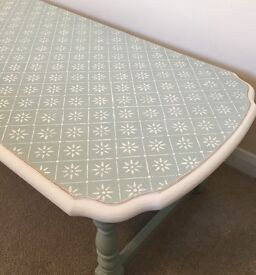 Shabby chic coffee table, duck egg blue & white. Victorian lace style stencilled top.