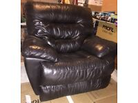 Chocolate-Brown Leather Electric Recliner Armchair
